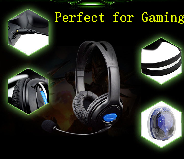 3.5MM Wired Chat Gaming Game Double Ear Headset Headphone Earphone earpiece For Sony Playstation 4 PS4 W/MIC Superbass Hi-Fi