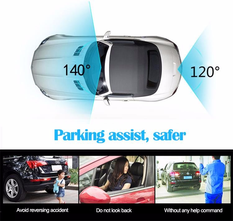 FHD 1080P car camera 4.3-inch Mirror Rearview screen dual lens Car DVR Night Vision rearview mirror auto dvrs Stop Recording 12