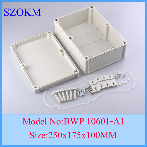1 piece free shipping electronic enclosure box para eletronica electronic box abs 250*175*100mm 4pcs a lot diy plastic enclosure for electronic handheld led junction box abs housing control box waterproof case 238 134 50mm