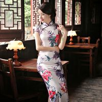 2017 New Chinese Style Silk Vintage Qipao Women Elegent Cheongsam Chinese Oriental Long Retro Qipao Traditional