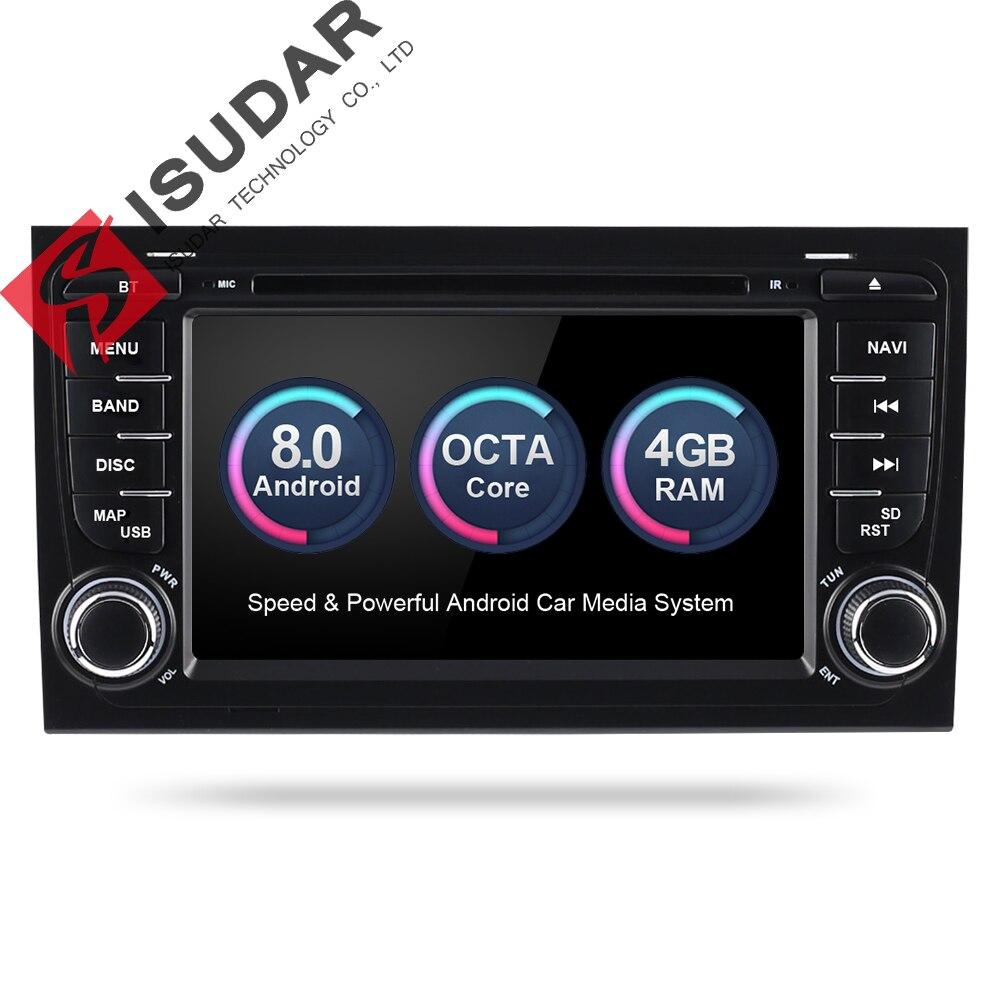 Reprodutor multimídia Carro Isudar 2 Rádio Do Carro Din GPS Android 8.0.0 Sistema Estéreo Para Audi/A4/S4 2002 -2008 gb RAM DSP 4 DVR OBD2 FM
