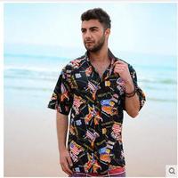 2017 Mens Short Sleeve Hawaiian Beach Shirt Man Casual Cotton Printing Europe America Plus Size S