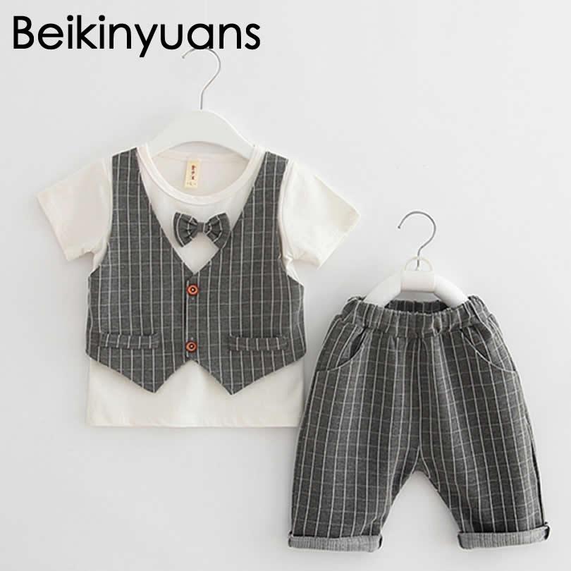 Baby Boy Summer Gentleman Suit Fake two-piece Machete + Pants Boy two-piece sets Tie Vest Stripe Style Toddler Clothes
