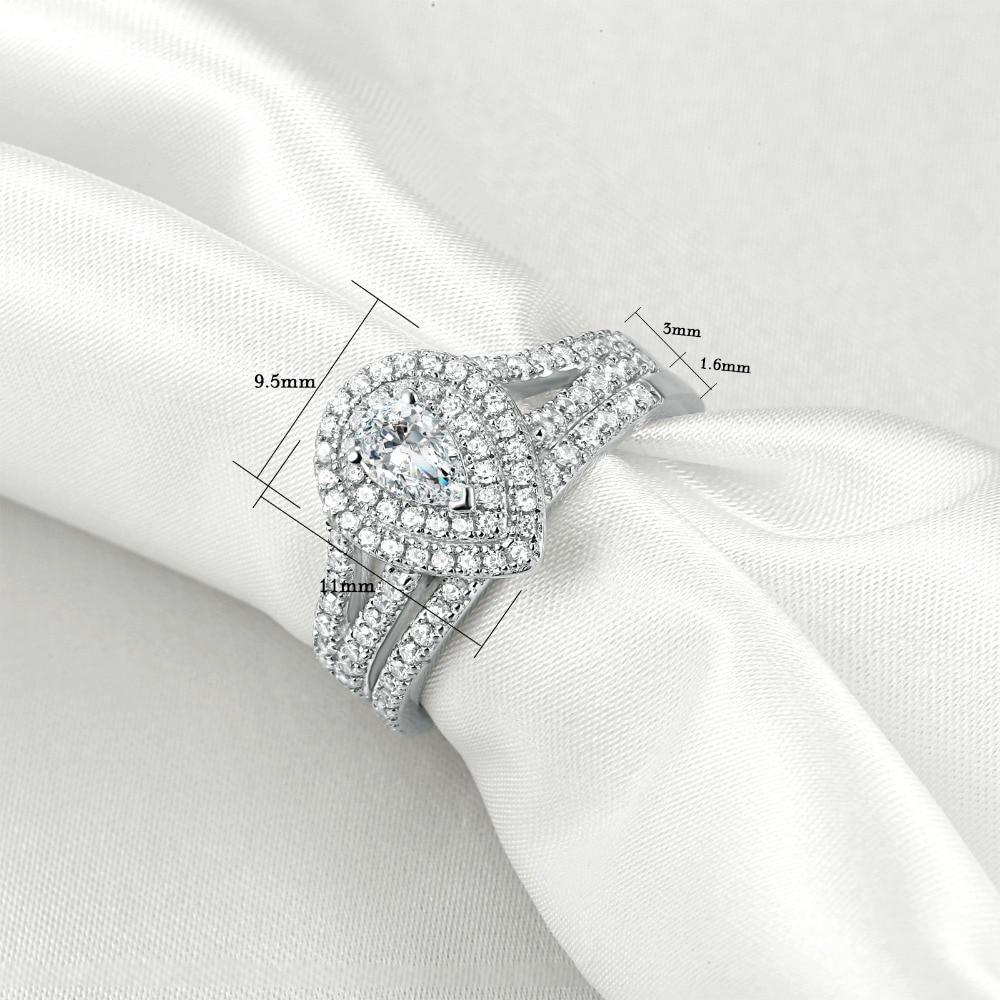 1.2 Carats Pear/Tear Drop Shape Wedding Ring Set in 925 Sterling Silver