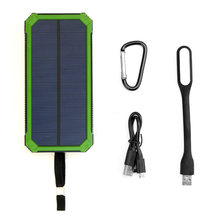 Dual USB Solar Power Bank 15000mAh Waterproof Solar Panel Charger External Battery with LED Lamp for Smartphones iPhone Outdoor(China)