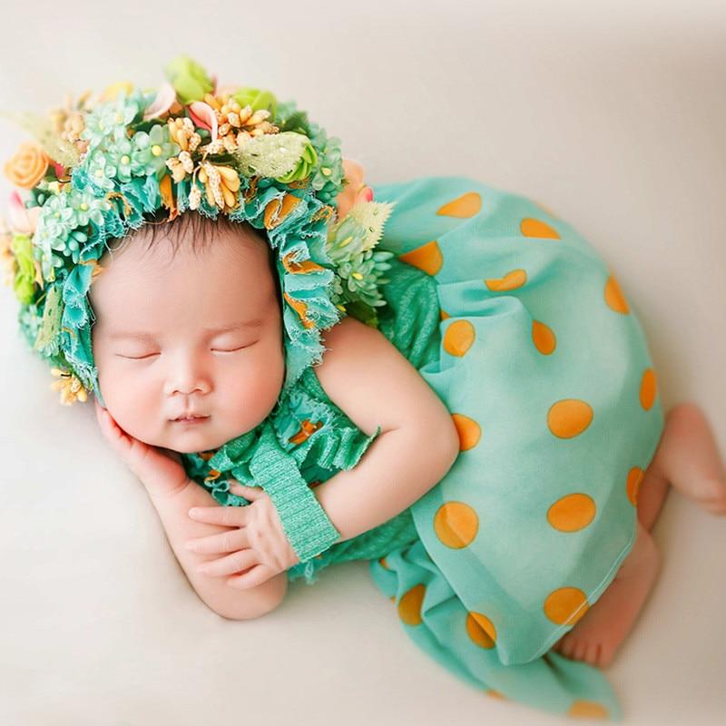Newborn Props Headband Artificial Flower Headdress Photography for Girls Prop Set Dress Hat