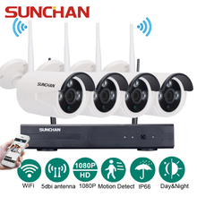 SUNCHAN 4CH Matriz HD Hogar WiFi Sistema de Cámaras de Seguridad Inalámbrica Kit DVR 1080 P Full HD NVR Vigilancia CCTV WIFI Al Aire Libre Kit
