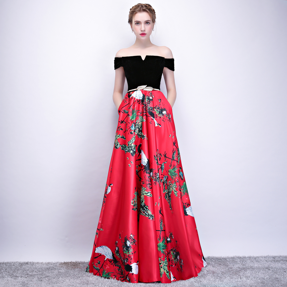 CEEWHY Boat Neck Floral Printed Prom Dress Vintage Evening Dress Plus Size  Abendkleider 2018 Elegant Formal Dress Robe Longue-in Evening Dresses from  ... 61a4cc0ded0f