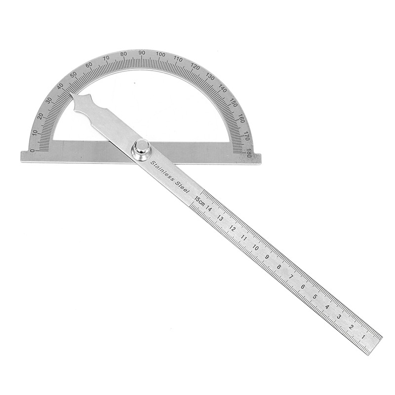 Stainless Protractor Round Head Angle Finder Craftsman Ruler 0-180 Degree 15cm High Precision Machinist Measuring Tool