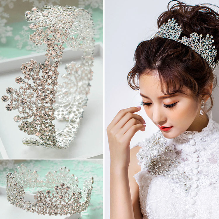 Hairstyles For Wedding Using A Crown: Sparkling Snow Shape Rhinestone Round Crown Crown Bridal