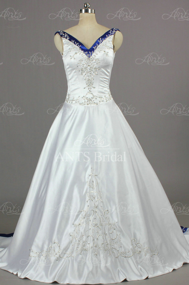 Designer stunning weddings satin v neck v back royal blue for Royal blue and white wedding dresses