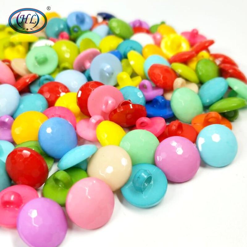 HL 100pcs Rodada Shank Mix Cores Plástico Botões Acessórios de Costura Noções DIY Artesanato Roupas Childrren 12MM