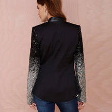 HDY Haoduoyi slim women Pu patchwork Black silver sequins Jackets