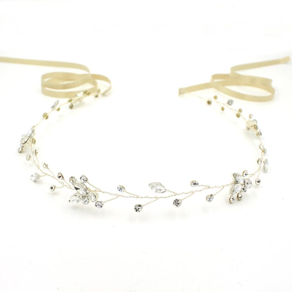 SLBRIDAL Vintage Kristal të Qarta, Të Qarta, Dasma, Flokë Martese, - Bizhuteri të modës - Foto 4