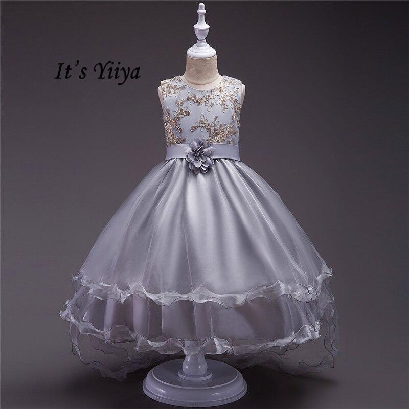 It's YiiYa 4 Colors Sleeveless O-Neck Lace Bling Sequined Floor-Length Pattern Kids Princess   Flower     Girls     Dress   Communion TS053