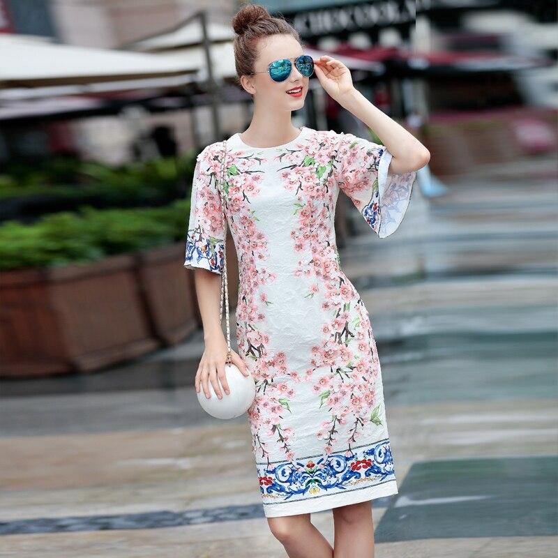 61db589ef 2014 nueva primavera las mujeres Flare mangas apliques flores patrones  impreso pista jacquard Vestido marca de lujo vaina vintage vestidos
