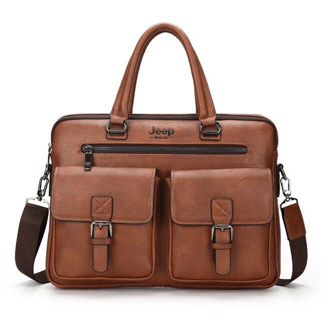 Two Flap Pocket Vintage Leather Men's Bag Business Briefcase Laptop Men Messenger Bags Shoulder Crossbody Work Bag Tas Pria