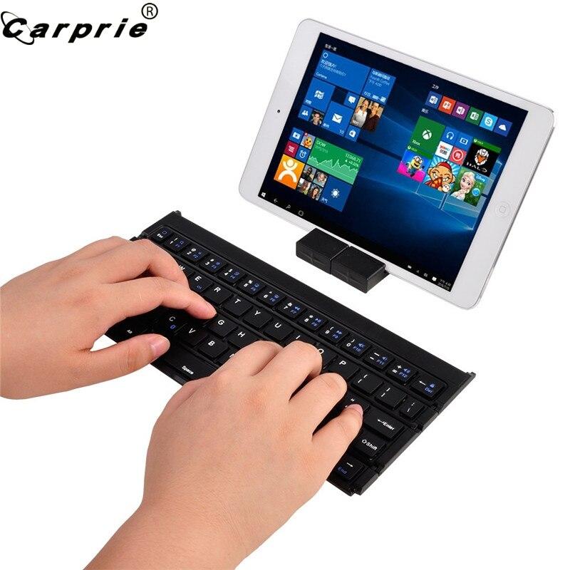 CAPRPIE Portable pliable sans fil Mini clavier Bluetooth pour iPhone PC tablette + support 81219