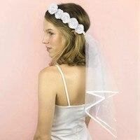 Лента на голову с розами, вуаль, сад, пляж, свадьба, девичник, свадебный душ, невеста, чтобы быть помолвкой, украшения, принадлежности