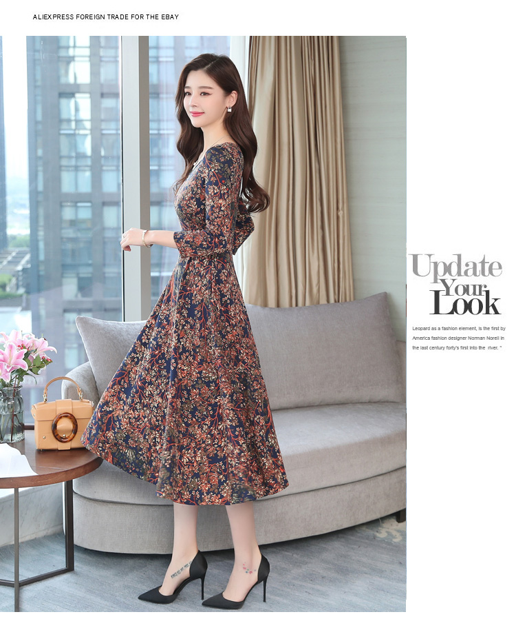 Autumn Winter New 3XL Plus Size Vintage Midi Dresses 2018 Women Elegant Bodycon Floral Dress Party Long Sleeve Runway Vestidos 39
