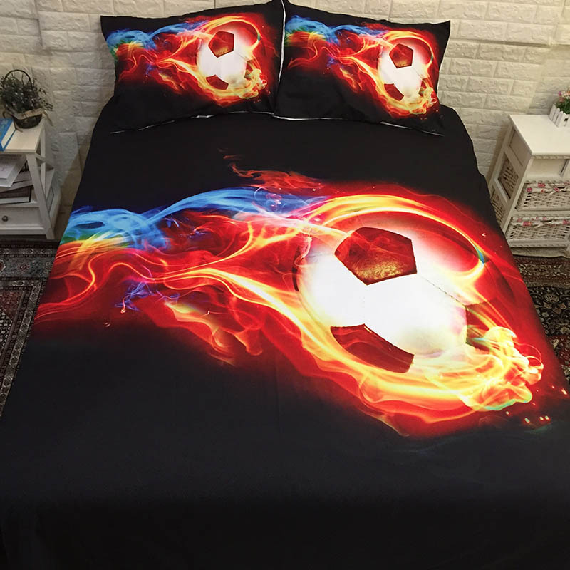Power Source 3pcs Football Printed Bedding Sets Queen King Twin Size Luxury 3d Bed Cover Soccer Blue Duvet Cover Bedlinen Set Home Textiles