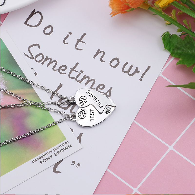 Best Friend Necklace Women Crystal Heart Tai Chi Crown Best Friends Forever Necklaces Pendants Friendship BFF Jewelry Collier 12