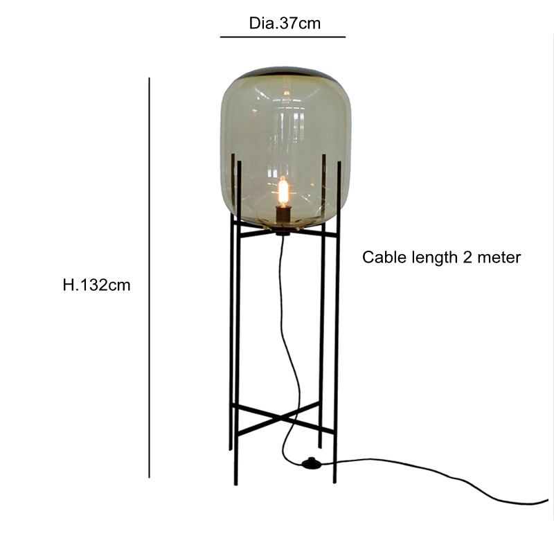 Creative simple floor lamp glass Fashion Design desk light black body new design home shop restaurant decoration Bar hotel light