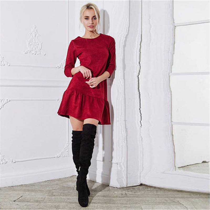 Fall 2018 Women Suede Casual Three Quarter Sleeve T Shirt Mini Dress Autumn Winter Fashion Vintage Ruffle Christmas Dresses 10