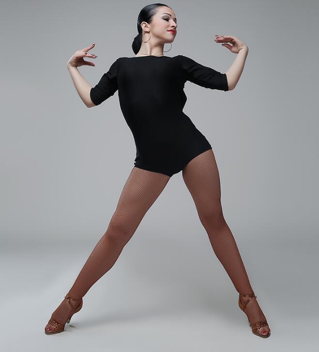 Latin Dance Top For Women Ballroom Salsa Tango Chacha Dance Leotard back cut out