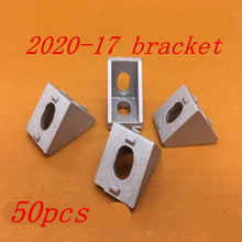 50pcs/lots 2020 bracket 20 x 17mm conner fitting connector bracket fastener match 2020 industrial aluminum profile