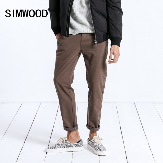 Simwood marca calças casuais dos homens nova primavera magro ajuste moda calças masculinas plus size tornozelo comprimento calças de alta qualidade 180402