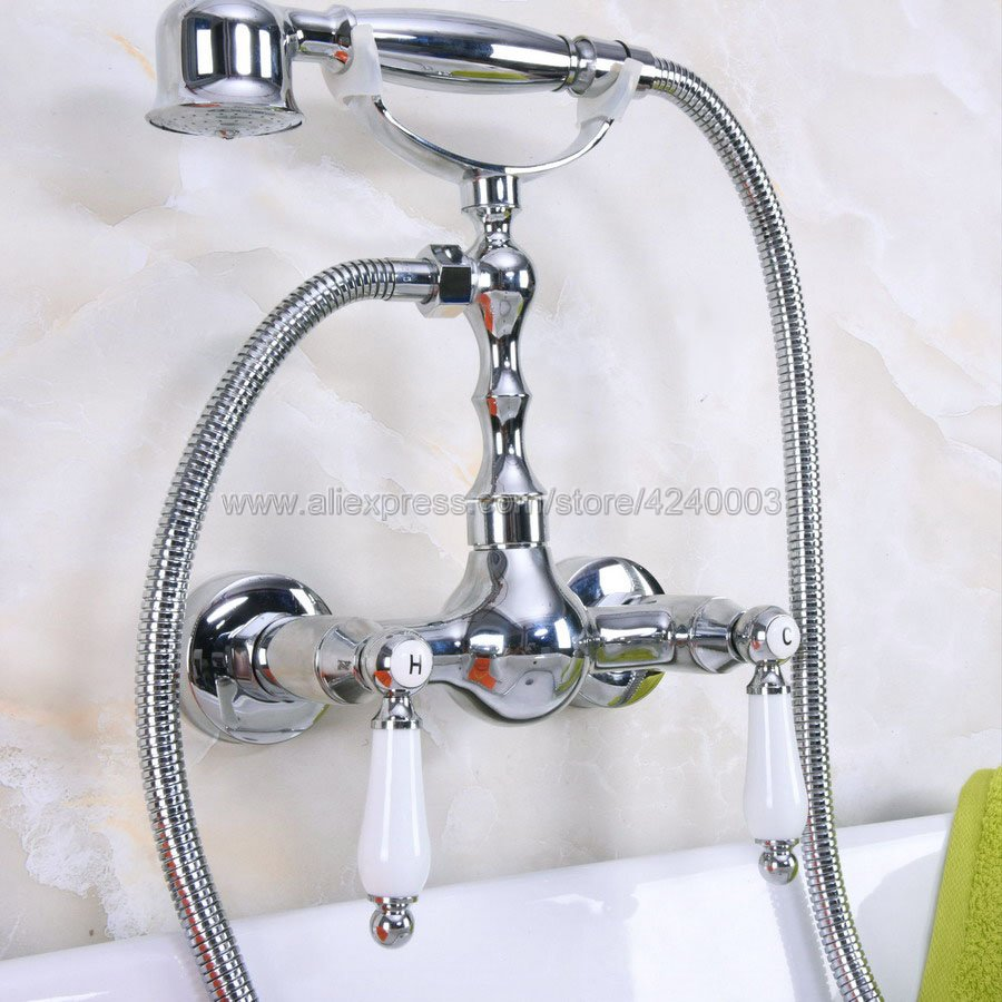 Polished Chrome Wall Mounted Bathroom Faucet Bath Shower Mixer Tap With Hand Shower Head Shower Faucet Sets Kna212Polished Chrome Wall Mounted Bathroom Faucet Bath Shower Mixer Tap With Hand Shower Head Shower Faucet Sets Kna212