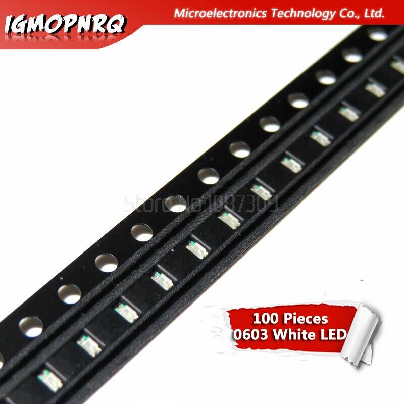 100pcs White 0603 SMD LED Diodes Light