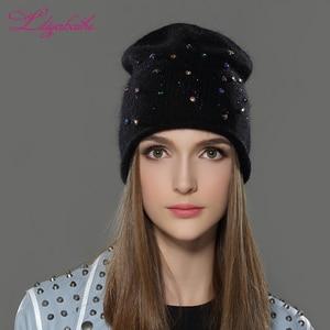 Image 5 - Liliyabaihe feminino outono e inverno chapéu angora malha skullies gorros boné clássico cor diamante decoração chapéus para meninas