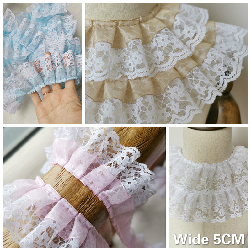 5CM Wide Tulle Double Layers Chiffon 3d Pleated Cotton Lace Applique Fabric Dress Collar Skirt Fringe Sewing Guipure Supplies