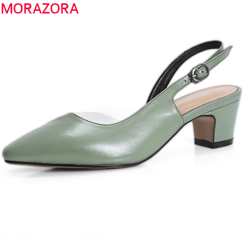 MORAZORA2018 new style women pumps pointed toe summer shoes simple buckle genuine leather ladies shoes casual square heel shoes