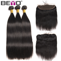 Ear To Ear Lace Frontal Closure With Bundles 4 PCS Peruvian Straight Human Hair Lace Frontal