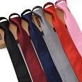 Alta Calidad 2017 Nuevas Llegadas 6 CM Corbatas Delgadas para Hombre Moda Cremallera Simple Lazo de Los Hombres Corbata de Los Hombres de Negocios Tie Gravata fácil tire