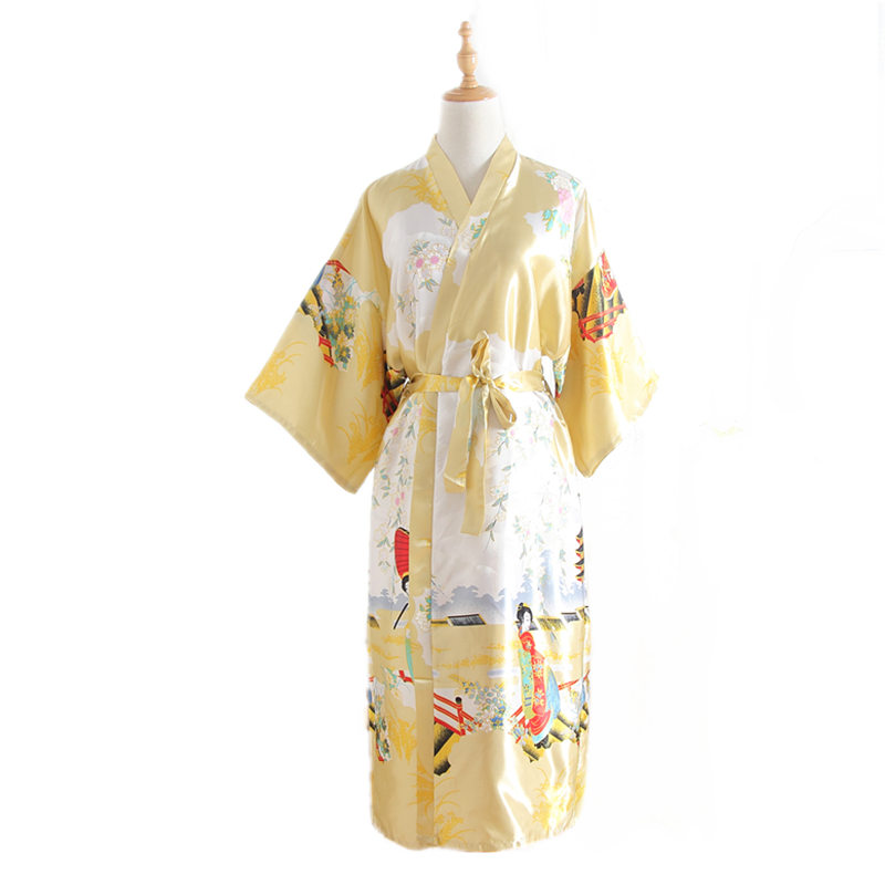 High Fashion Gold Chinese Women Silk Robe Traditional Kimono Bath Gown  Kaftan feminino pijama Size S M L XL XXL XXXL WR040 58a8fb5cc