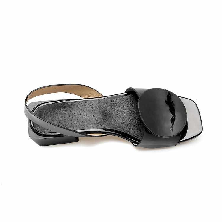 8126de7607 Ladies back strap medium heels sandals square heel shoes open toe black  sandals pu leather sandalias mujer 2018 new size 43 42