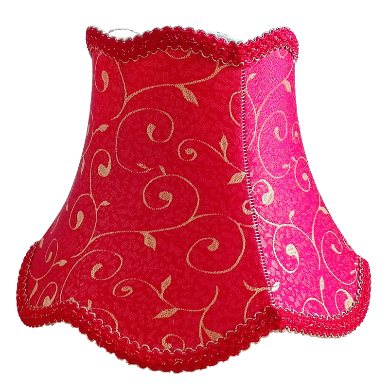 RED E27 Desk Lamp Lampshade Red Lace Abstract Flower Pattern Textile Fabrics Fashionable Decorative E27 table lamp shade