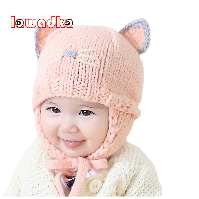 1d0e40c88 Lawadka Knitted Baby Hats Girls Boys Cat Cartoon Hat for Kid Two Ear Cute  kids Caps For Baby Girls Soft Cap
