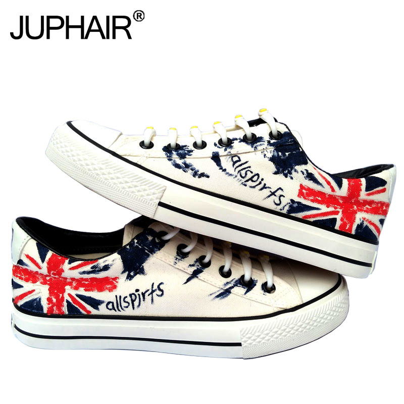 ФОТО JUP Men's Boys Cartoon Anime Flag Pattern Despicable Me Minion Shoes Couples Hand Painted Canvas Shoes Casual White Tie Shoelace
