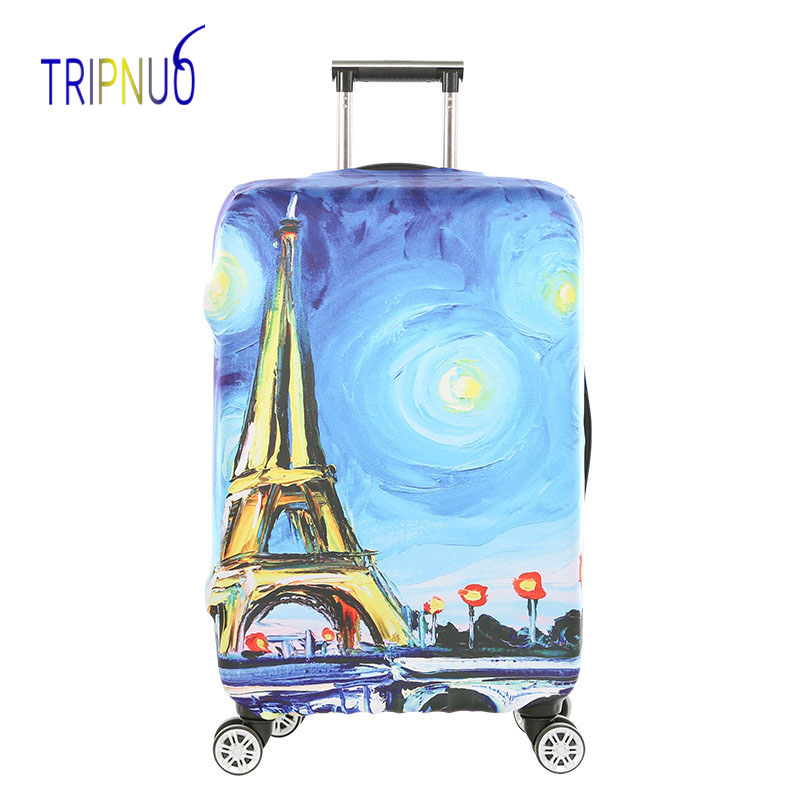 TRIPNUO Paris Tower Thickest Elastic Luggage Cover Zipper Suit For 18-32 inch Trunk Case Travel Suitcase Protective Covers цена