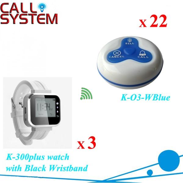 Новый беспроводной клиентов вызов система наручные часы 3 шт. с передатчика 22 шт. 100% водонепроницаемый-бесплатная доставка DHL
