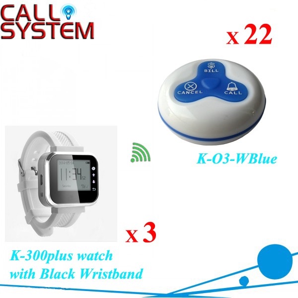 New Wireless customer calling system Wrist Watch 3 pieces with Transmitter 22pcs 100% waterproof free DHL shipping