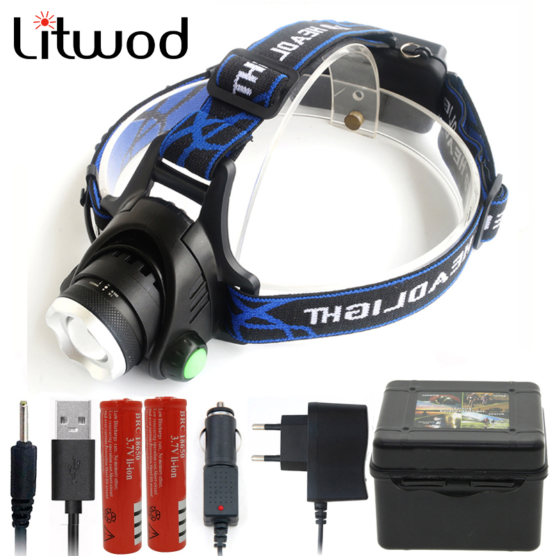 Headlamp Head Lamp Flashlight Headlight Led Bulbs Litwod Lithium Ion 5000lm 18650 Battery Front Light Recharge Bookable Zoom