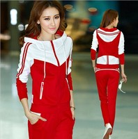 2014 New Winter Women Clothing Sportswear Hoodies Casual Woman Overalls Casual Sport Set 2 Tracksuits Red