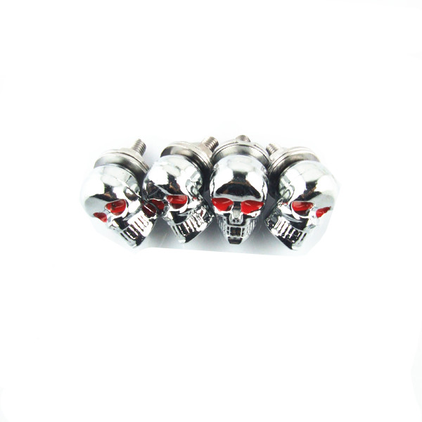 4 Skull 3D Cut Out Motorcycle License Plate Frame Bolts Tag Fasteners WHITE BLK