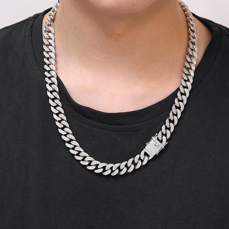 Hommes femmes Hip Hop MIAMI lien cubain plus cool chaîne collier cuivre coulée Micro cubique zircone fermoir glacé Bling bijoux - 5